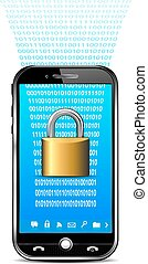 téléphone, sécurité données, concept