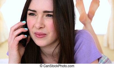 téléphone, séduisant, conversation, avoir, femme