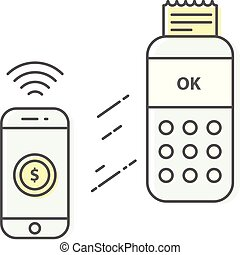 téléphone sans fil, terminal, crédit, creux, intelligent, paiement, carte, icône