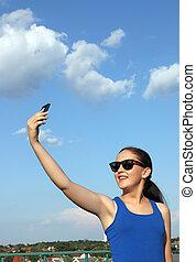 téléphone, selfie, girl, intelligent, faire
