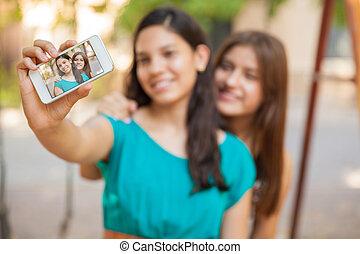 téléphone, selfie, intelligent