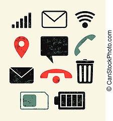 téléphone, set., icônes, retro, typographique