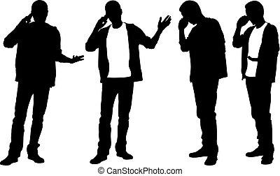 téléphone, silhouettes, hommes parler