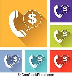 téléphone, six, icônes