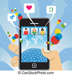 téléphone, social, connecter, réseau, mobile: