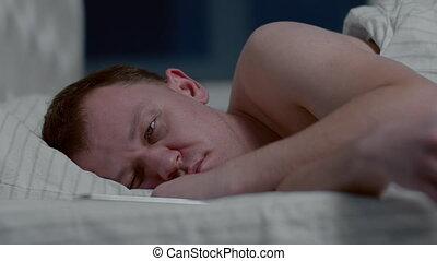 téléphone, sommeils, fermé, appelé, dormir, nuit, homme, mobile, virages, appeler