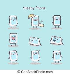 téléphone, somnolent, dessin animé, intelligent
