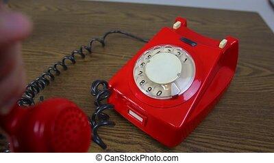 téléphone, sonner, rouges, rotatif