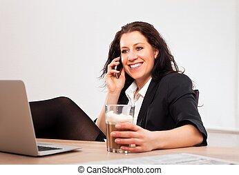 téléphone, sourire, cadre, conversation
