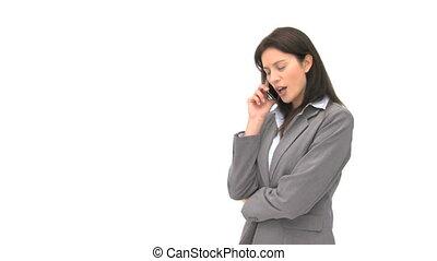 téléphone, sourire, conversation, femme