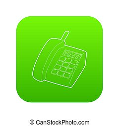 téléphone, soutien, vert, icône