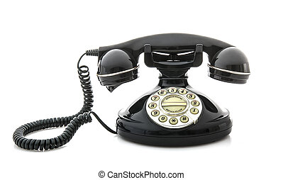 téléphone, style, vieux, fond blanc