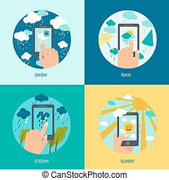 téléphone, temps, ensemble, intelligent