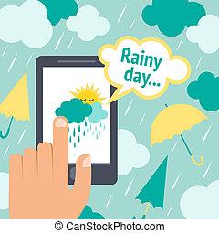 téléphone, temps, intelligent, pluie