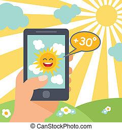 téléphone, temps, intelligent, soleil