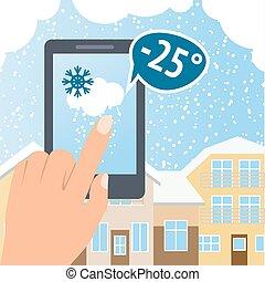 téléphone, temps, neige, intelligent
