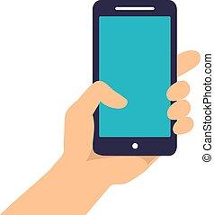 téléphone, tenant main, projection, intelligent, fond, isolé, écran, blanc