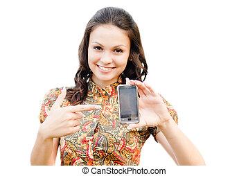 téléphone, tenue, espace copy, beau, toucher, isolé, blanc, femme, sur, jeune