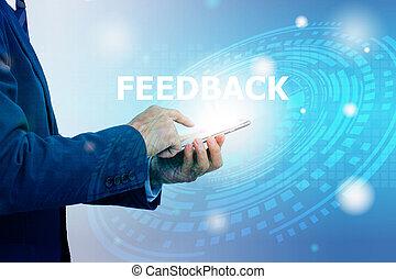 téléphone, tenue, homme affaires, main, fond, client, double, technologie numérique, exposition, réaction, mobile, graphique