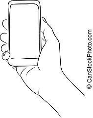 téléphone, tenue, intelligent, main