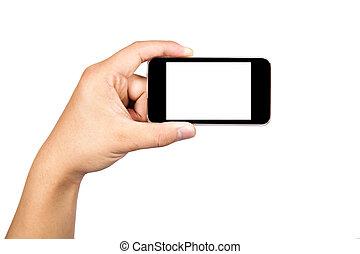 téléphone, tenue, intelligent, toucher, soutien, appareil ...