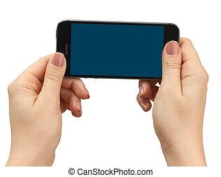 téléphone, tenue, isolé, main femelle