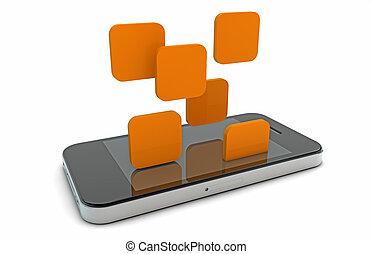 téléphone, tomber, apps, intelligent