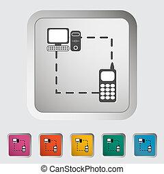 téléphone, unique, synchro, icon.