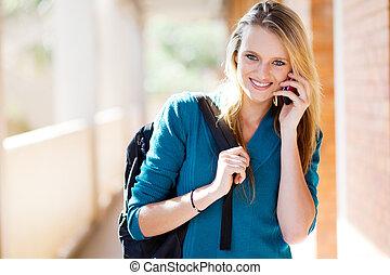 téléphone, université, intelligent, étudiant, conversation