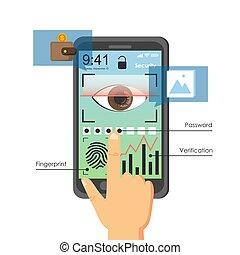 téléphone, utilisateur, authentication, méthodes, vecteur, ...