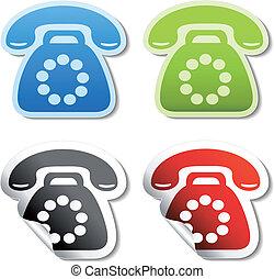 téléphone, vecteur, autocollants