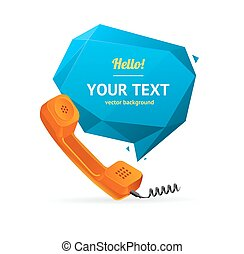 téléphone, vecteur, bulle, speech., récepteur