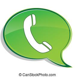 téléphone, vecteur, bulle, vert, icône
