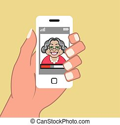téléphone, vecteur, grand-maman