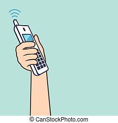 téléphone, vecteur, haut, cueillir