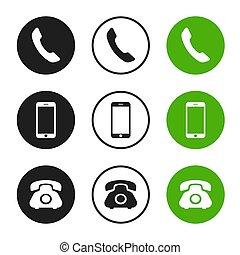 téléphone, vecteur, icons.