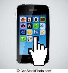 téléphone, vecteur, illustration, mobile
