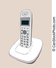 téléphone, vecteur, sans fil