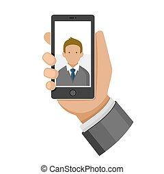téléphone, vecteur, selfie, icon., confection, homme photo, plat