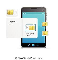 téléphone, vecteur, sim, carte, template.