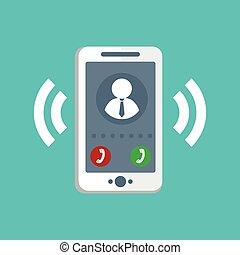 téléphone, vecteur, sonner, icône