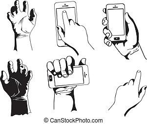 téléphone, vecteur, tenant main