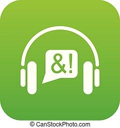 téléphone, vecteur, vert, consultation, icône