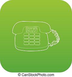 téléphone, vecteur, vert, icône
