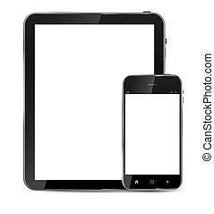 téléphone, vecteur, vide, résumé, isolé, écran, blanc, arrière-plan., réaliste, conception, illustration, mobile, tablette