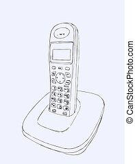 téléphone, vector., sans fil