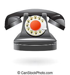 téléphone, vendange, isolé