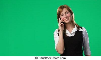 téléphone, vert, écran, métrage, femme