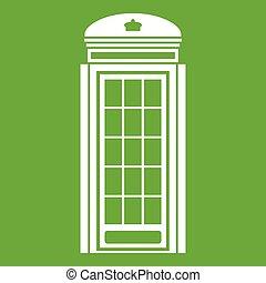 téléphone, vert, cabine, icône