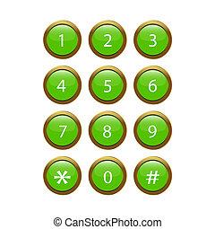 téléphone, vert, clavier